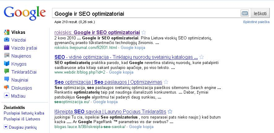 Google SEO optimizatoriai